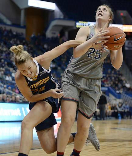 No. 2 UConn routs Chattanooga 80-43 for 80th straight win