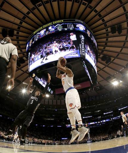 Anthony scores 29 knicks defeat timberwolves 118 114 Madison square garden basketball