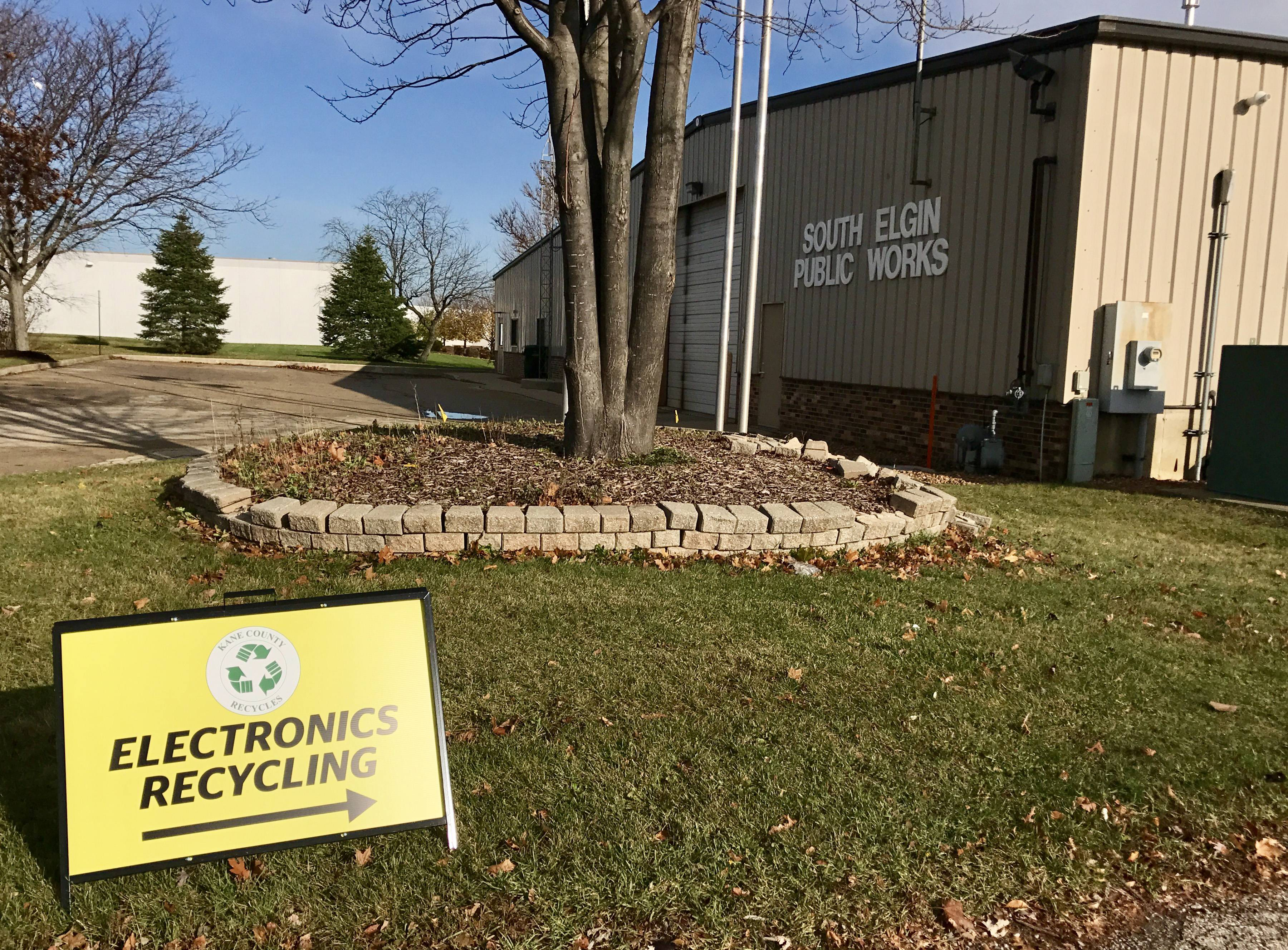Signs point residents to South Elgin's daily drop-off site for electronics recycling. The collection site has seen low traffic in recent months, prompting Kane County to increase outreach efforts for its recently relaunched electronics recycling program.
