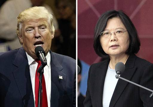 "FILE - This combination of two photos shows U.S. President-elect Donald Trump, left, speaking during a ""USA Thank You"" tour event in Cincinatti Thursday, Dec. 1, 2016, and Taiwan's President Tsai Ing-wen, delivering a speech during National Day celebrations in Taipei, Taiwan, Monday, Oct. 10, 2016. Trump spoke Friday, Dec. 2, with Tsai, a move that will be sure to anger China. (AP Photo/Evan Vucci, Chinag Ying-ying, File)"