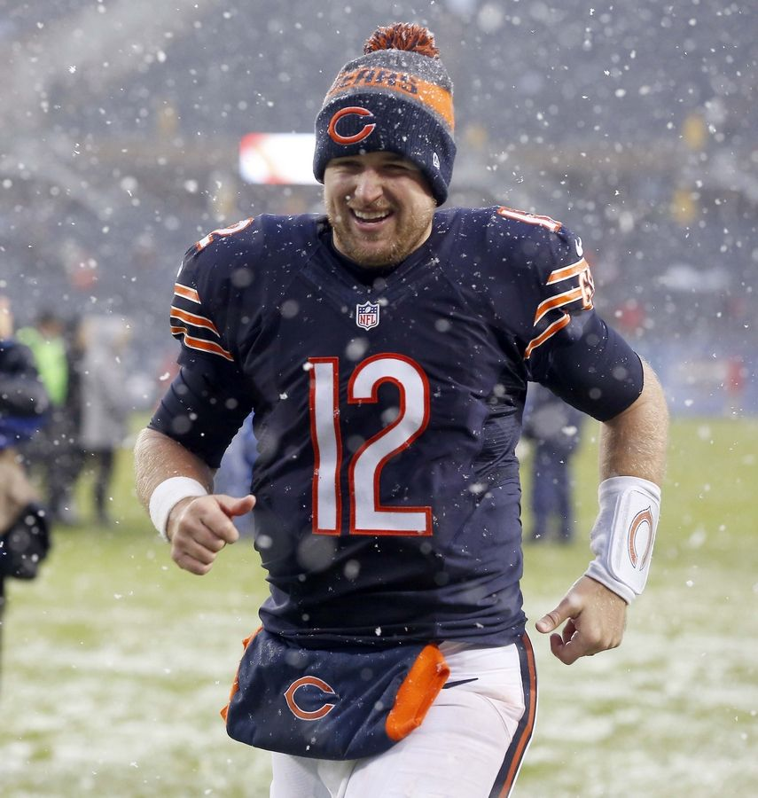Chicago Bears quarterback Matt Barkley (12) leaves the field Sunday at Soldier Field in Chicago.