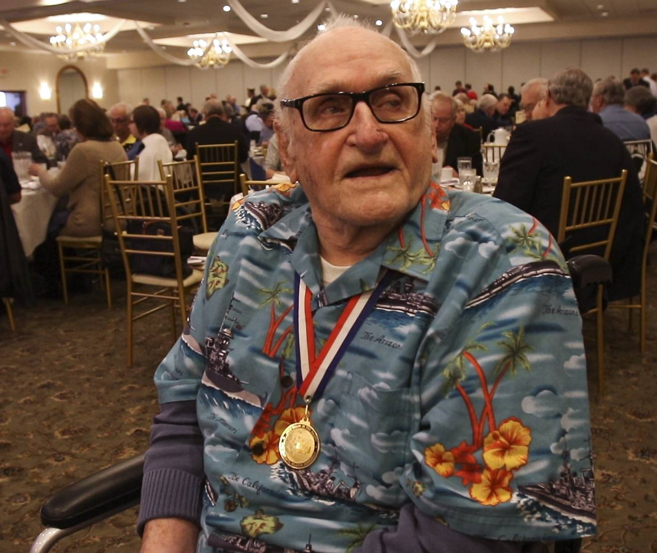 Everitt Schlegel of Elgin, an Army veteran and Pearl Harbor survivor, was honored Monday by the Aurora Council of the Navy League of the United States at an annual Pearl Harbor Day Memorial Luncheon in Aurora.
