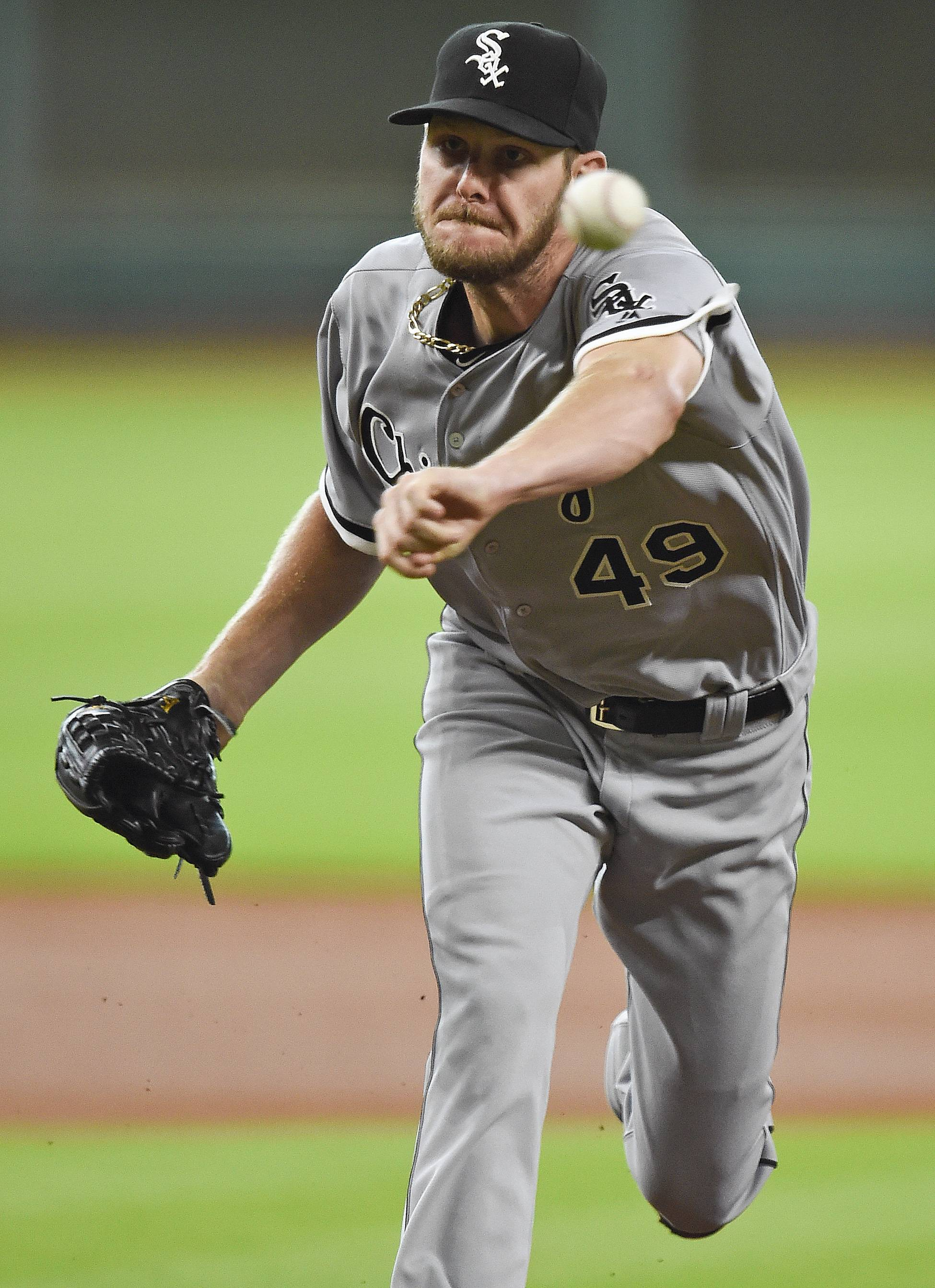 Chicago White Sox starting pitcher Chris Sale delivers in the first inning of a baseball game against the Houston Astros, Saturday, July 2, 2016, in Houston.