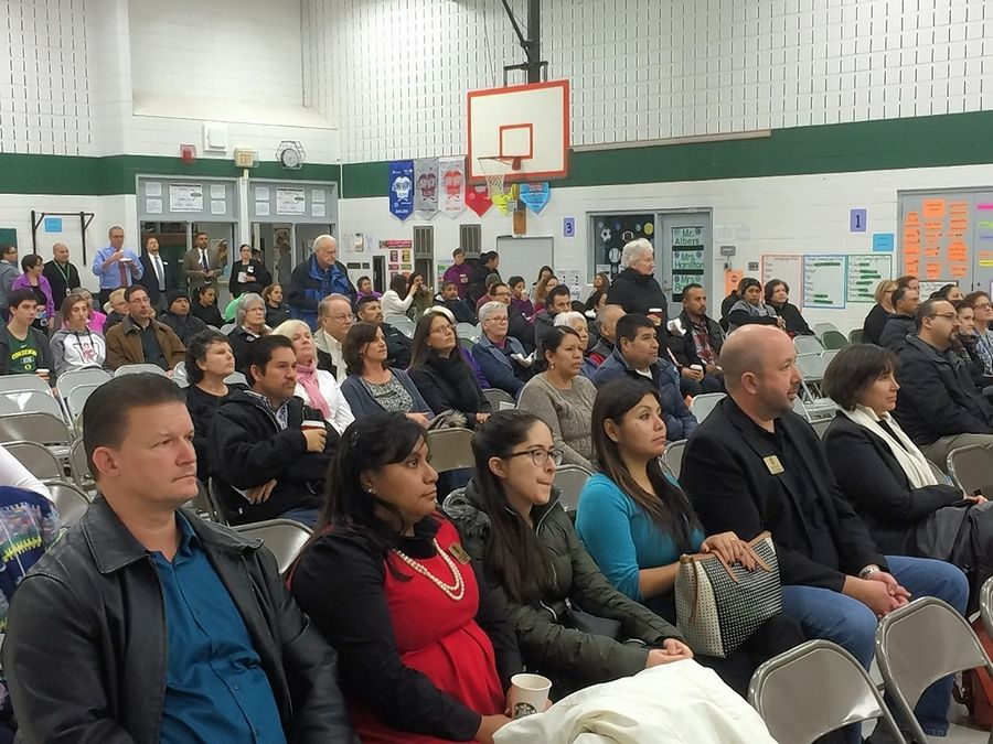 About 150 people attended a forum about immigration issues Monday night at Mundelein's Washington Elementary School. Speakers included representatives from the Mexican Consulate in Chicago, state lawmakers and Mundelein Public Safety Director Eric Guenther.
