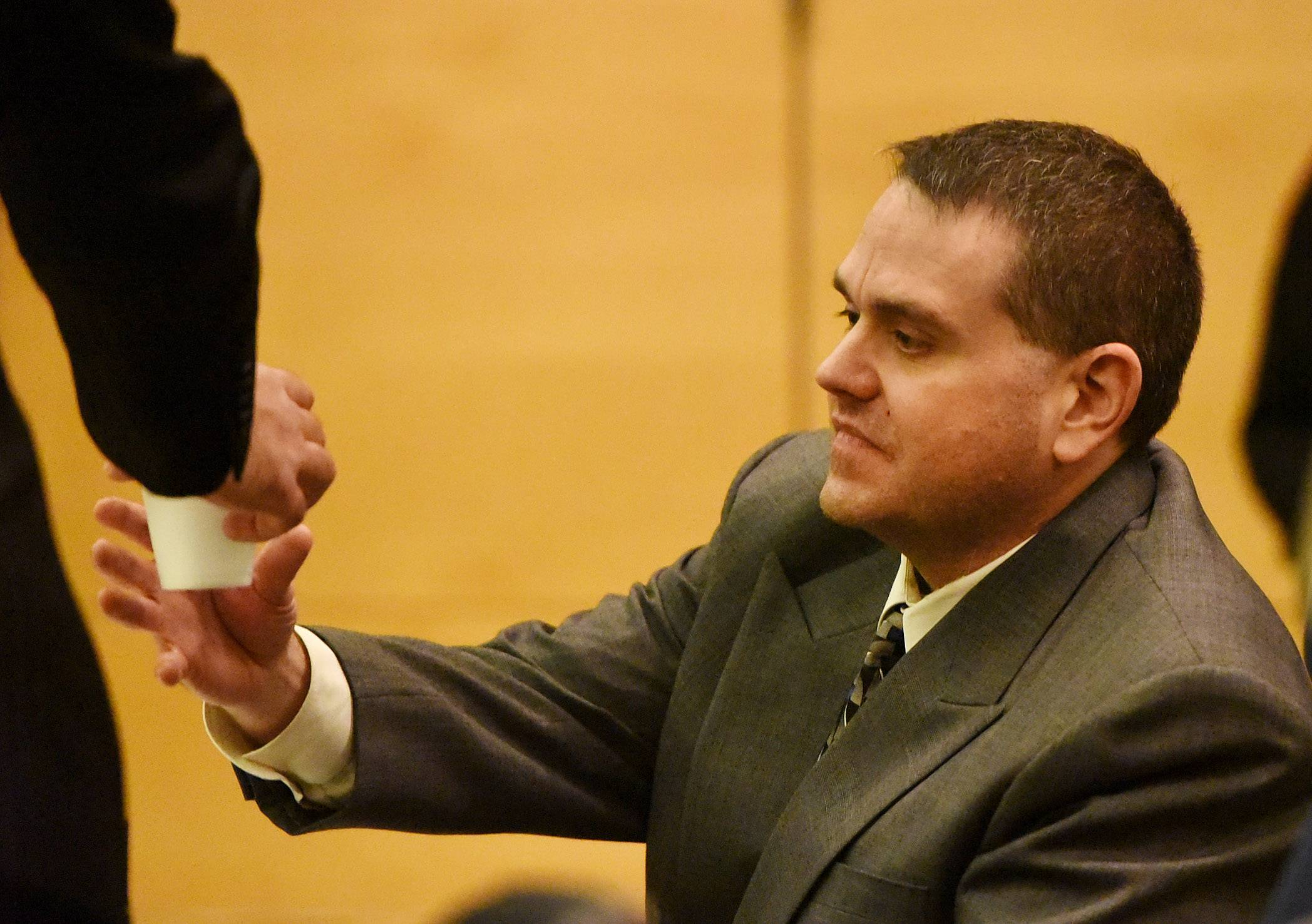 Richard Schmelzer, shown in court Tuesday, is accused of murdering his grandmother in East Dundee for her inheritance.