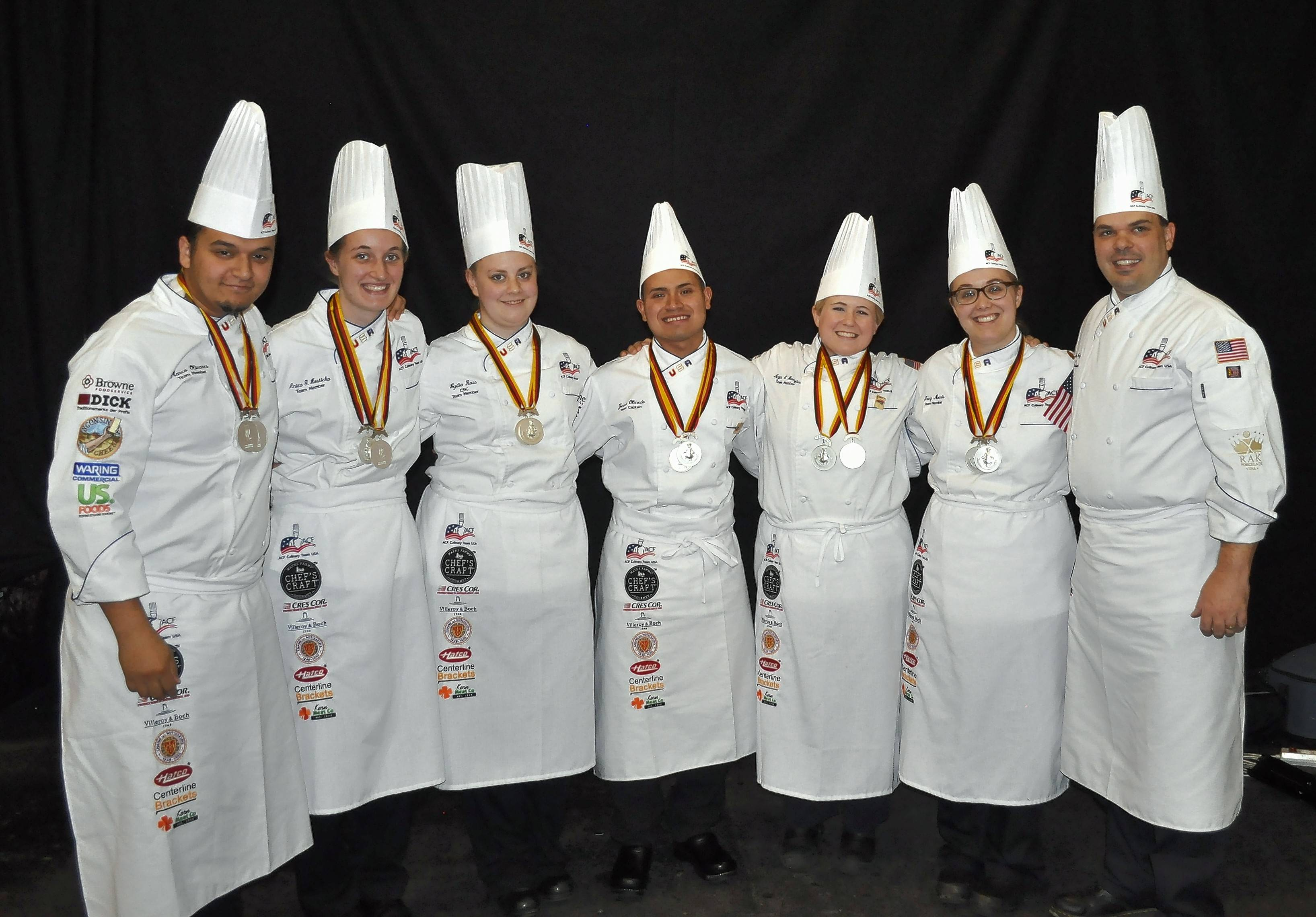 Anica Hosticka, second from left, competed this year on the 2016 ACF U.S. Youth Culinary Olympic Team: Marco Olivares, from left, Hosticka, Lydia Ross, Jesus Olmedo, Megan Bamford, Tracy Morris and Coach Shawn Culp. Stafford DeCambra, not pictured, served as team manager.