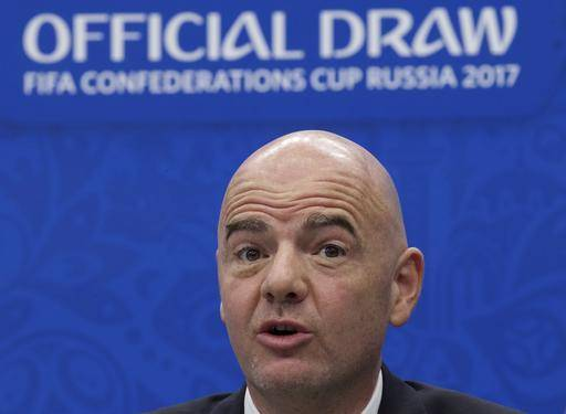 FILE- In this Saturday, Nov. 26, 2016 file photo, FIFA President Gianni Infantino speaks during a news briefing ahead of the draw for the soccer Confederations Cup 2017, in Kazan, Russia. Infantino has suggested having 16 three-team groups if the World Cup expands to 48 countries, Wednesday, Dec. 7, 2016. (AP Photo/Ivan Sekretarev, File)