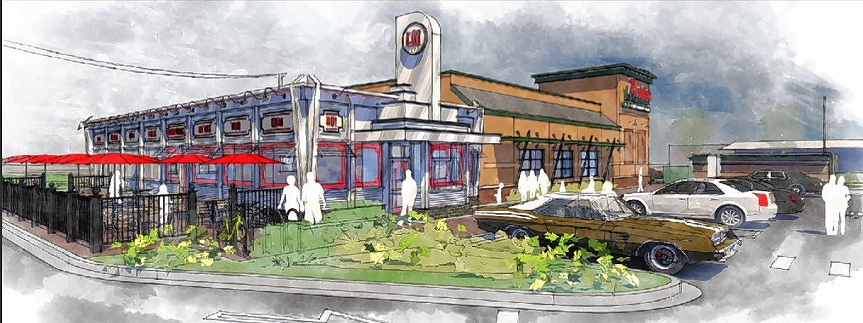 A rendering of the new Portillo's restaurant expected to open in the spring in Champaign near the University of Illinois.