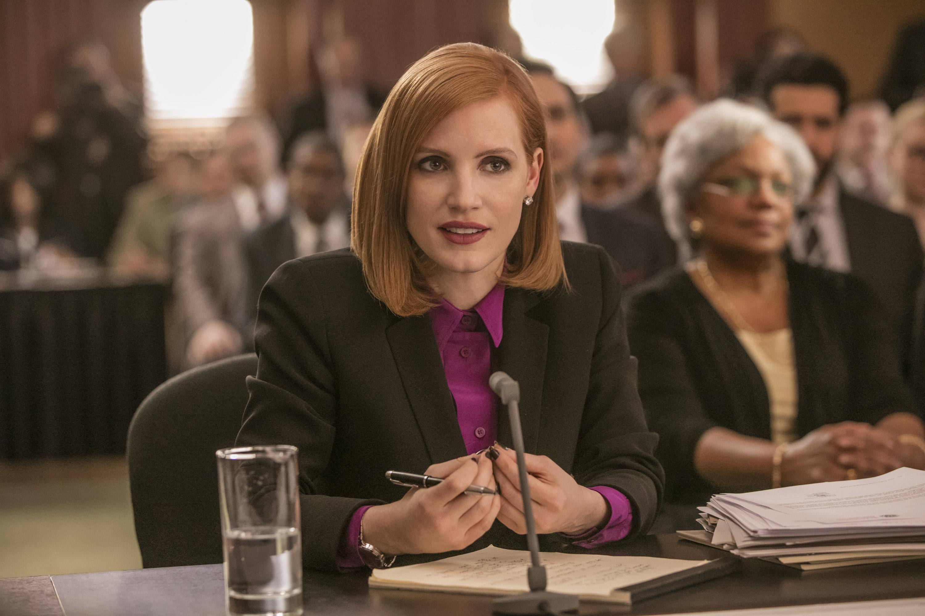 "Controversial lobbyist Elizabeth Sloane (Jessica Chastain) undergoes a congressional grilling in John Madden's political character study ""Miss Sloane."""
