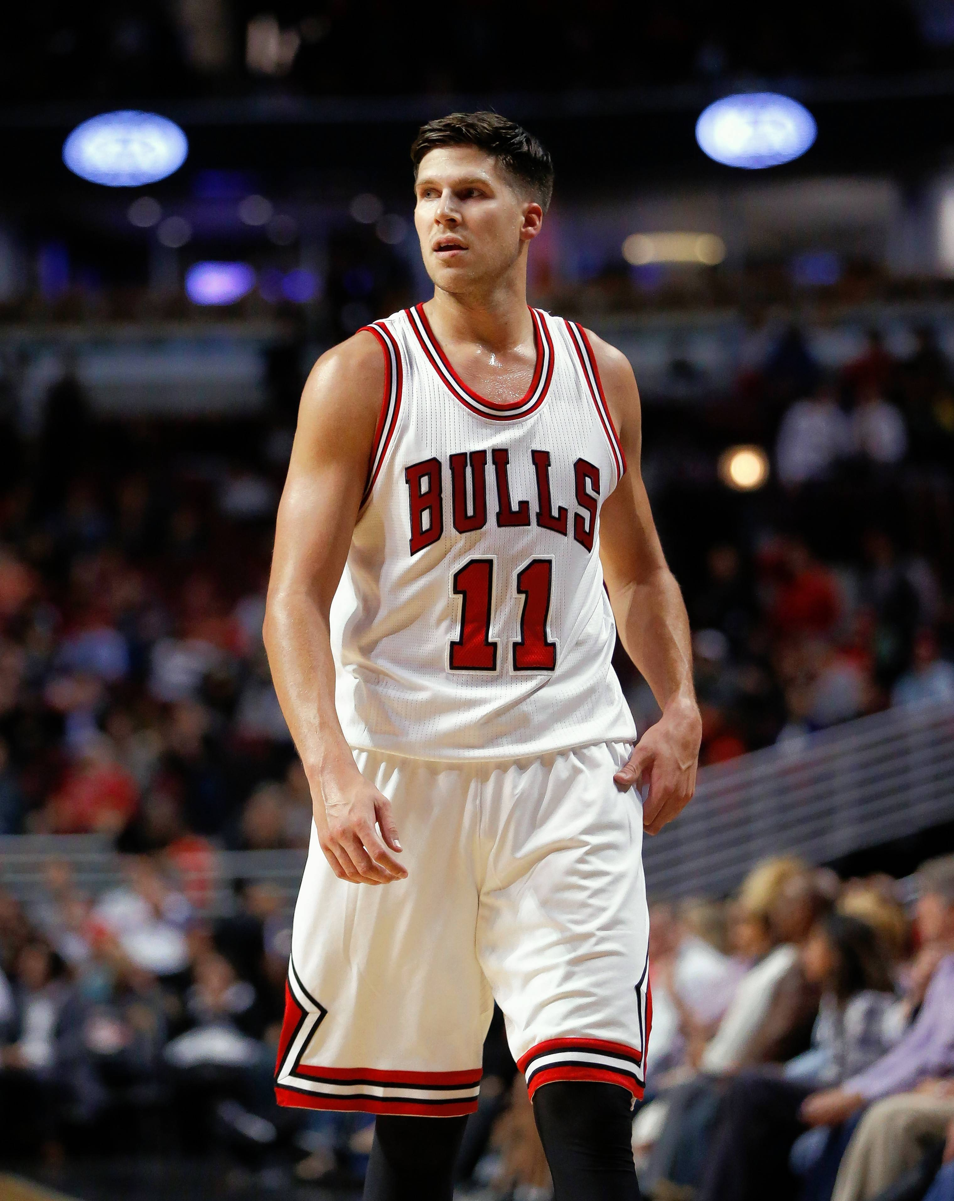 Chicago Bulls forward Doug McDermott sets up on offense during the second half of an NBA preseason basketball game against the Milwaukee Bucks Monday, Oct. 3, 2016, in Chicago.