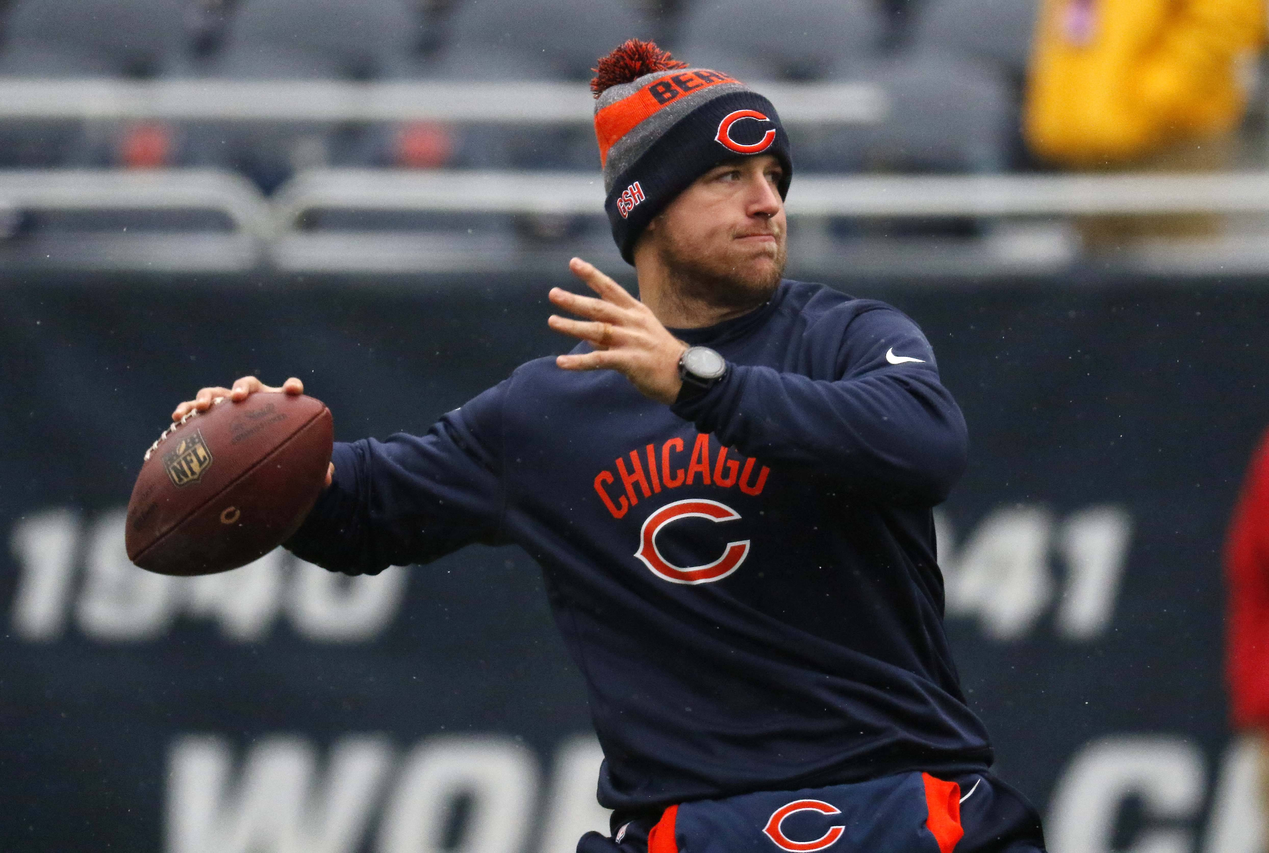 Chicago Bears quarterback Matt Barkley warms up prior to the game Sunday at Soldier Field in Chicago.