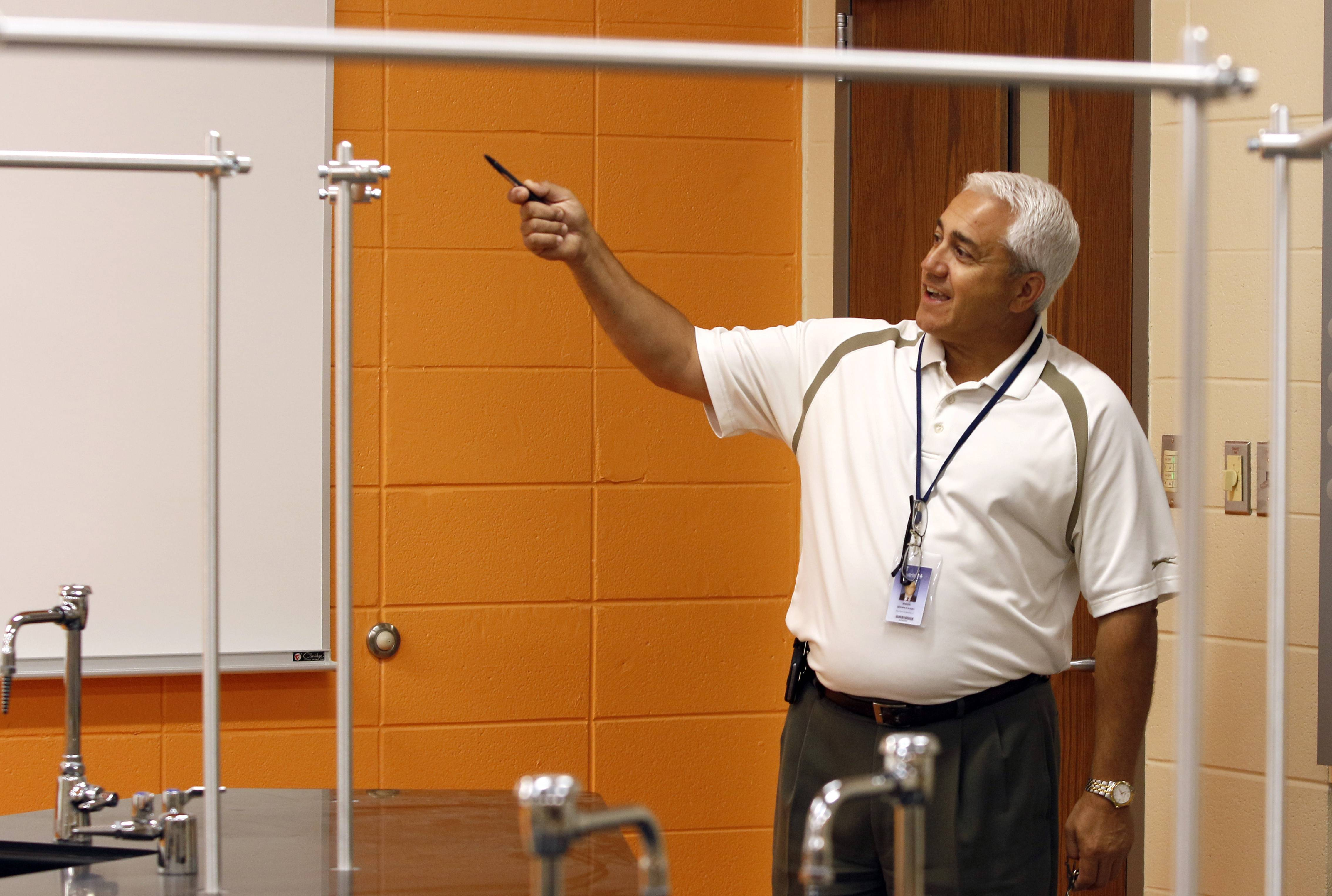 West Chicago Community High School Superintendent Doug Domeracki showed off new chemistry classrooms that opened this school year.