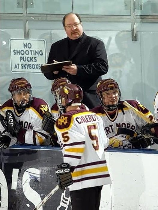 Tom Wendlandt, on the bench coaching the Eagles program he helped create for Robert Morris University.