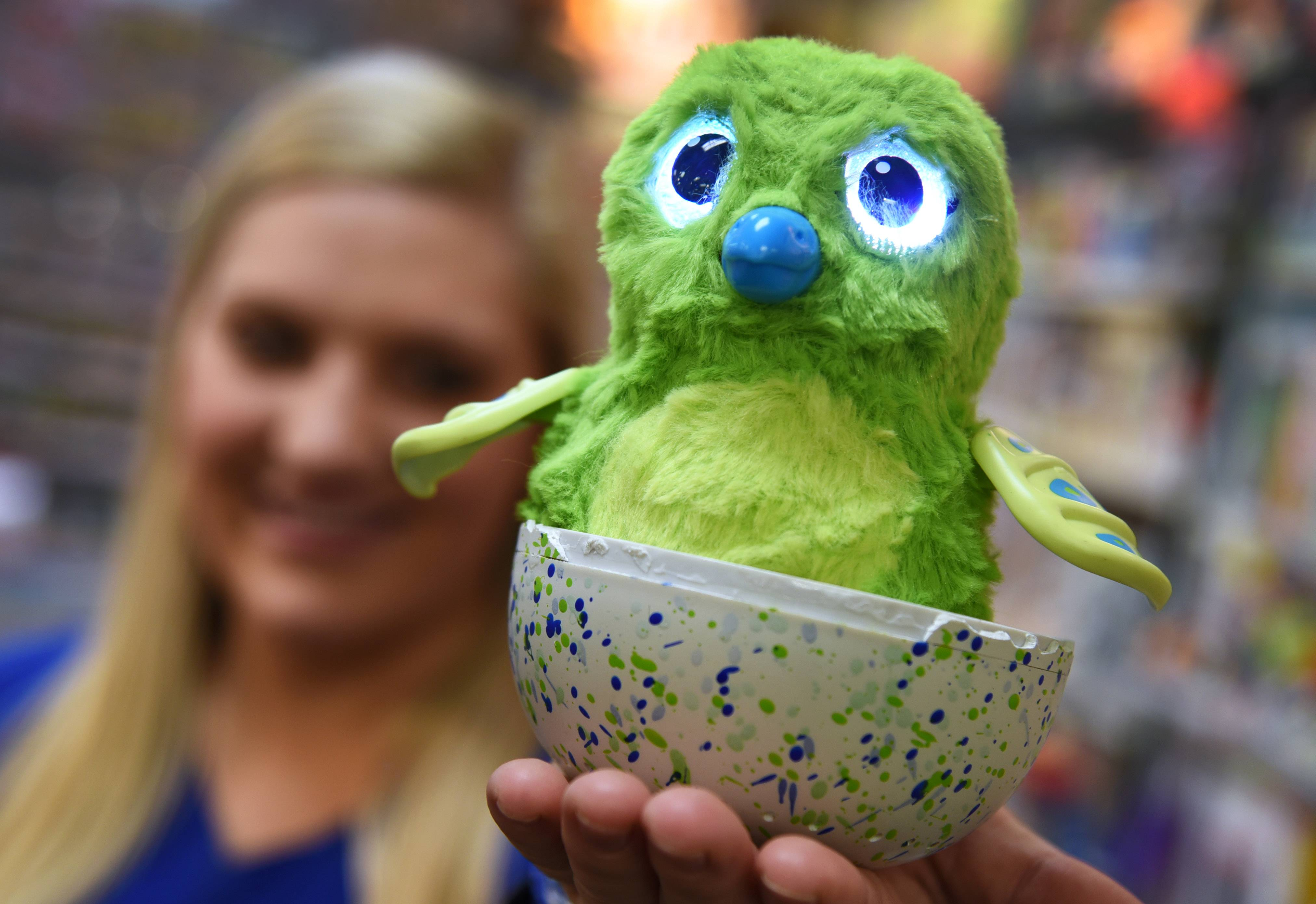 Paul Valade/pvalade@dailyherald.com Lake Zurich Learning Express sales associate Taylor Ostrowski holds the store's only (and not for sale) Hatchimal, which is one of the hottest Christmas toys this year.