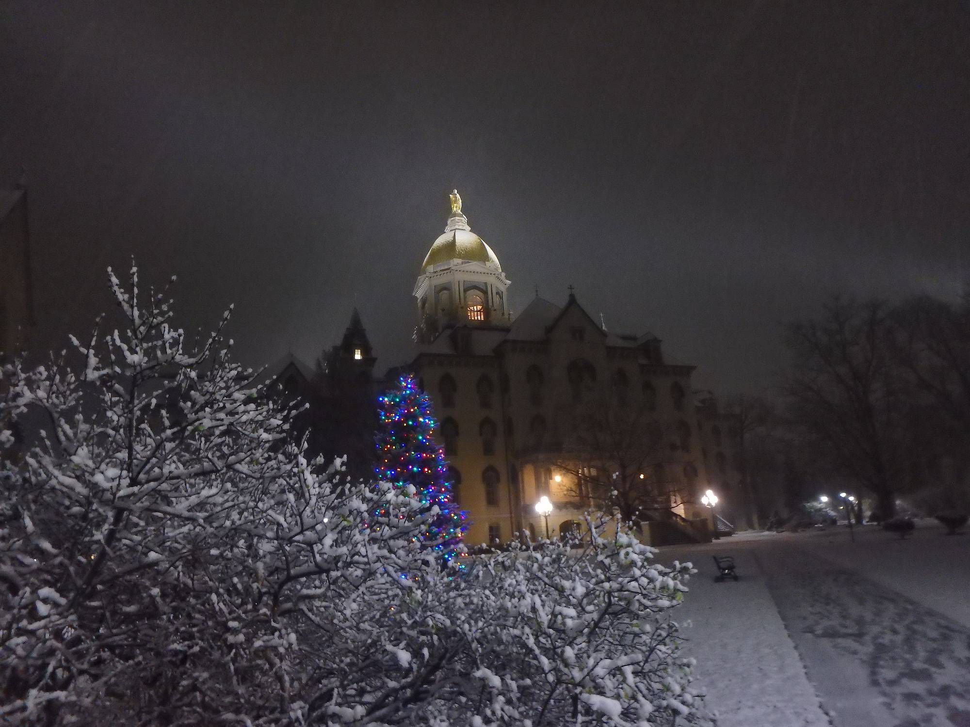 My mom, sister and I were scurrying across campus to attend the Advent Lessons and Carols at the Basilica of the Sacred Heart at the University Notre Dame. The basilica is next to the Golden Dome. As the snow fell, I took a quick shot; talk about the Christmas Spirit!