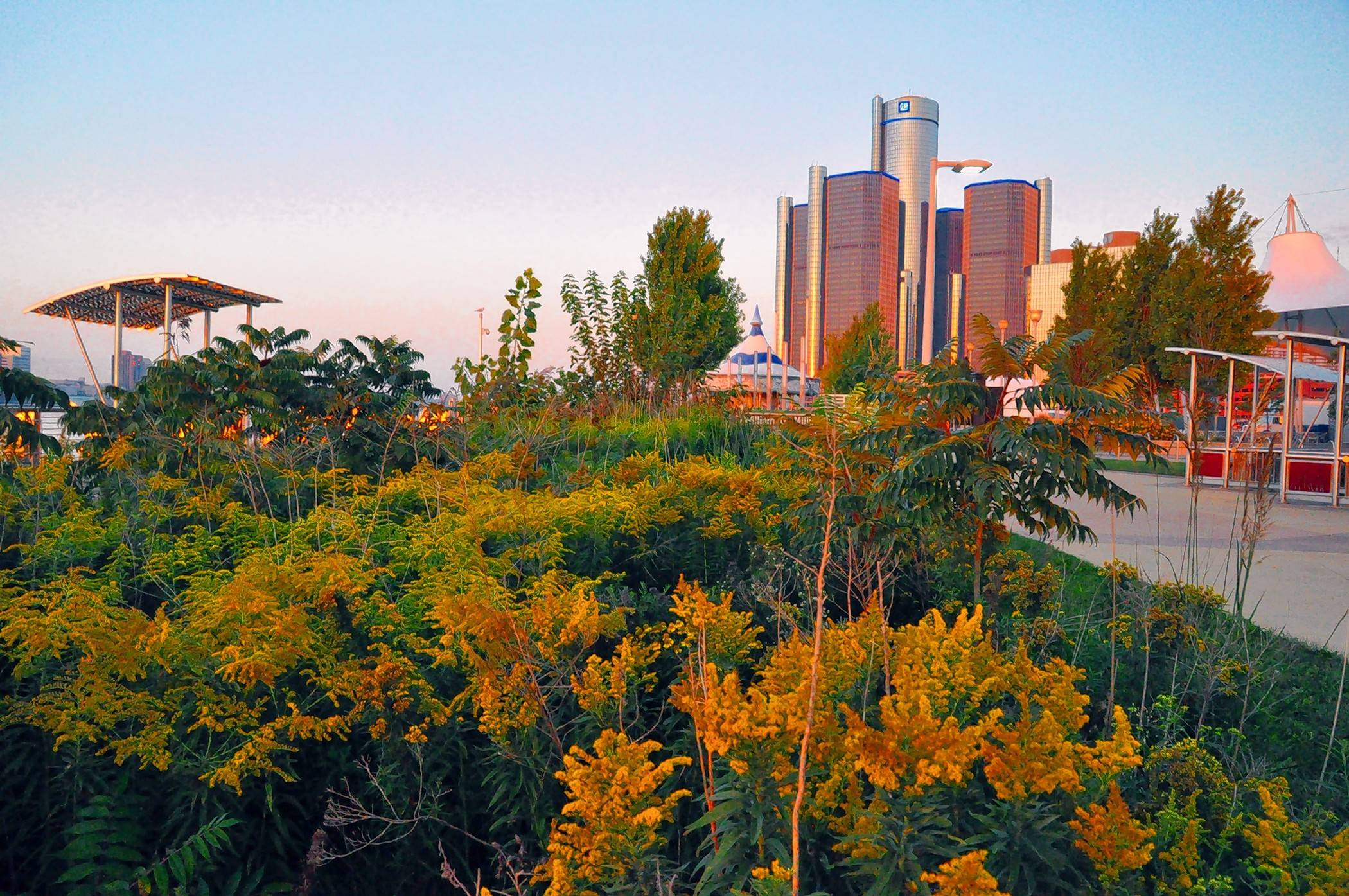 The new Riverwalk winds through Milliken State Park and Harbor, a 31-acre green oasis in downtown Detroit.