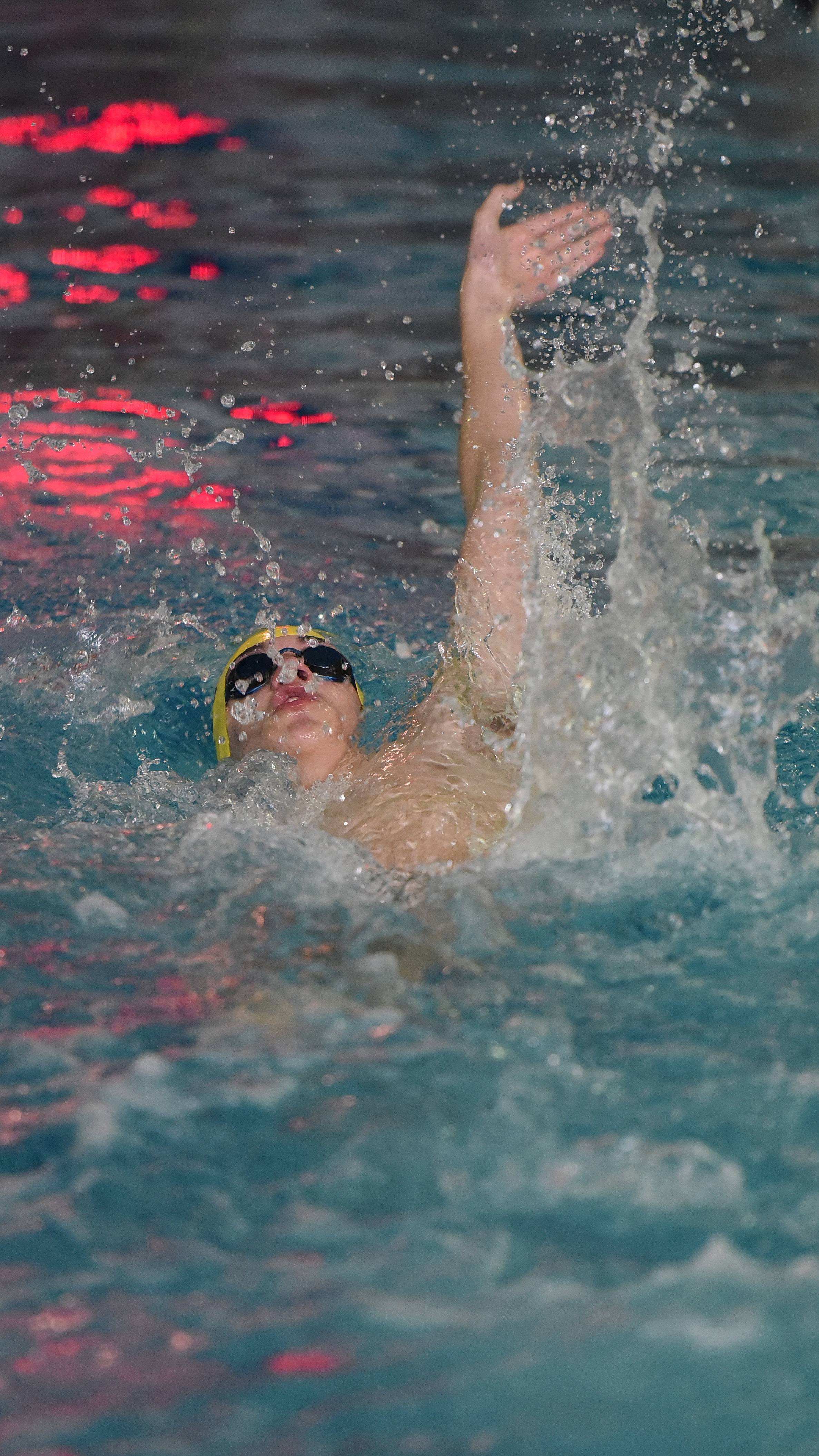 Cameron Casey of Neuqua Valley swims the 400 yard individual relay during the West Chicago Relays boys swimming invitational Saturday.