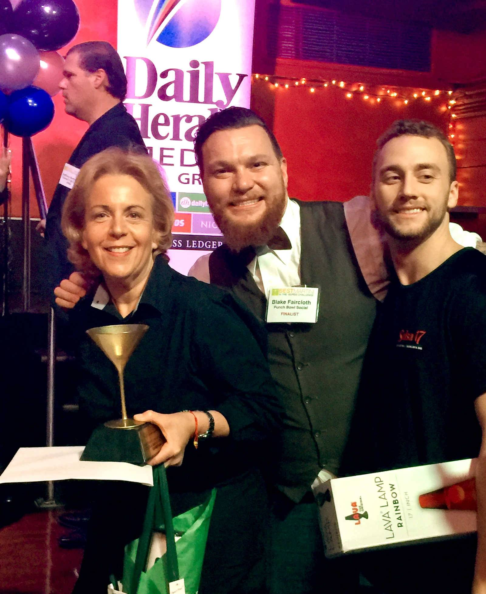 The judges' favorites for the Daily Herald's Best Martini in the 'Burbs contest are, from left: first place, Gail Fardman of JL's Pizza and Sports in Palatine; second place, Blake Faircloth of Punch Bowl Social in Schaumburg; and third place, Max Huber of Salsa 17 in Arlington Heights.