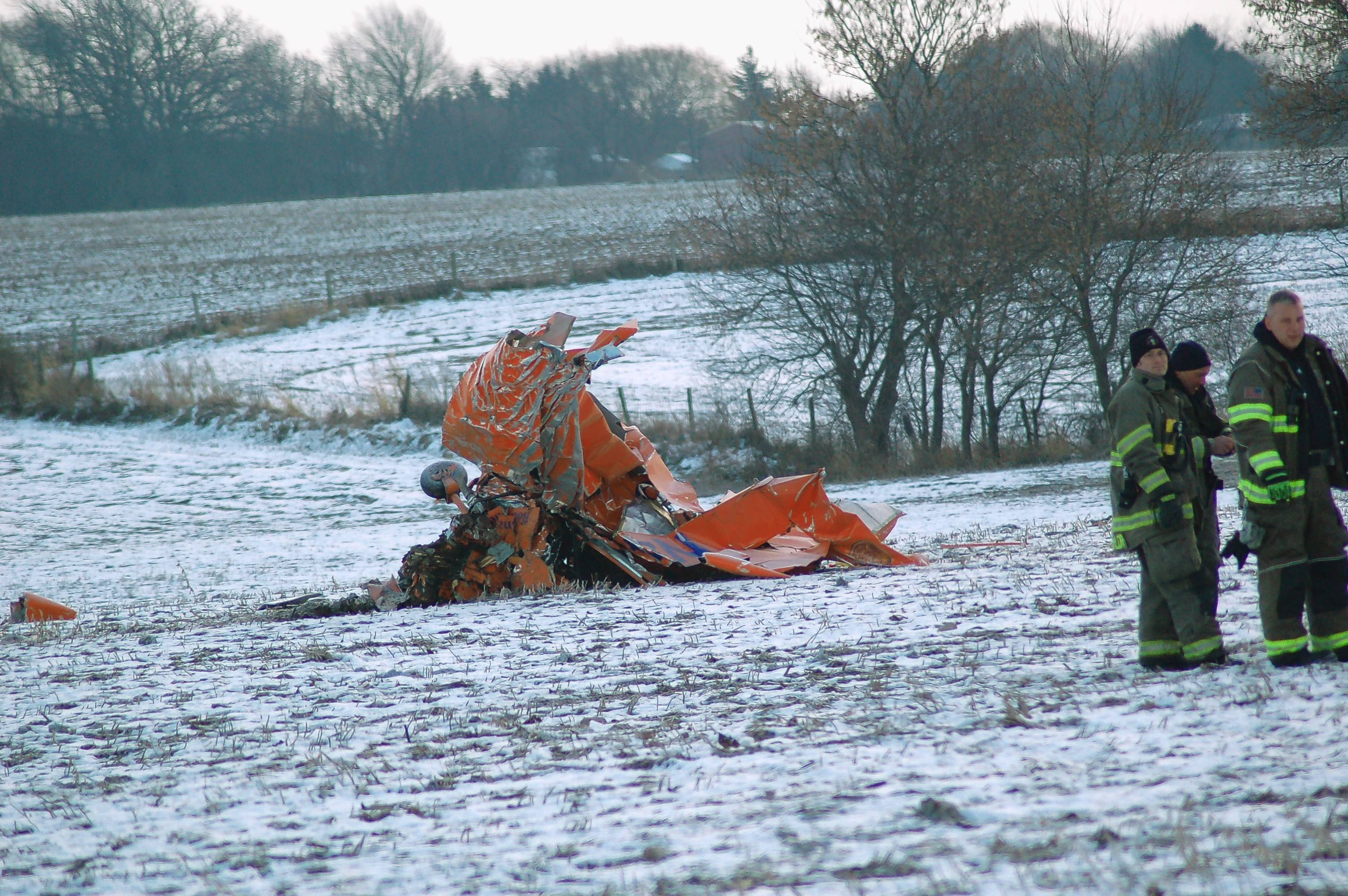 The wreckage of the plane crash that killed pilot and famous atheist Rob Sherman.