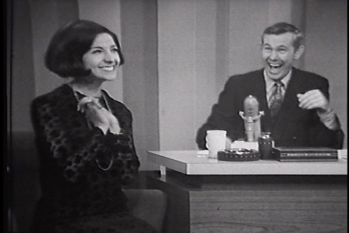 "Erupting in laughter, Johnny Carson listens to Mona Abboud of Sleepy Hollow sing her funny Christmas song, ""The Pretty Little Dolly."" That show aired on Dec. 15, 1966."