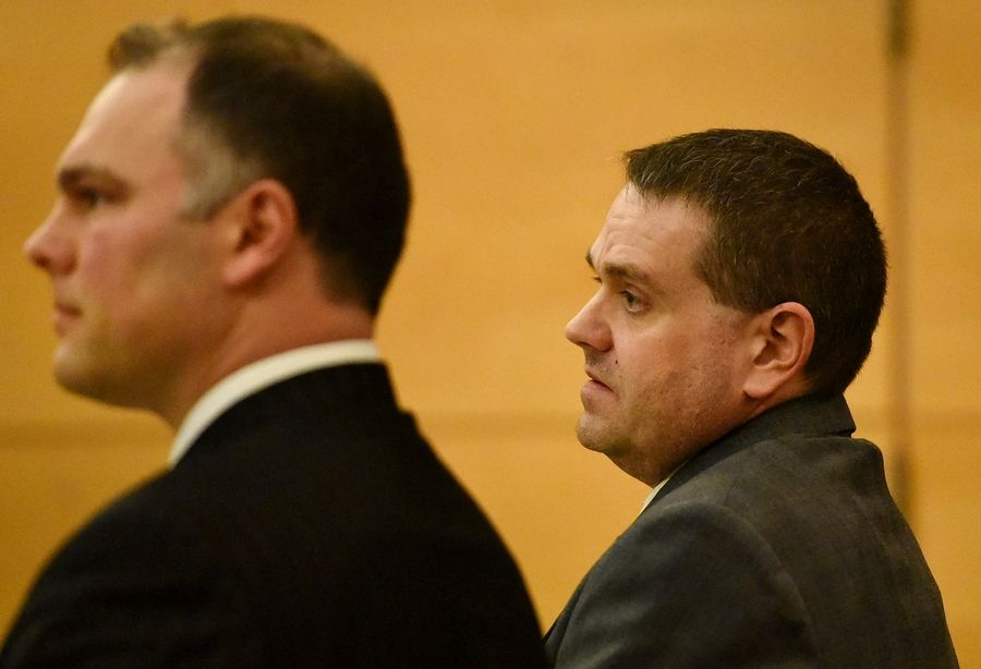 "Richard Schmelzer, right, shown last week with attorney Joshua Dieden, is on trial for the murder of his grandmother, Mildred ""Dodie"" Darrington, of East Dundee, in July 2014."