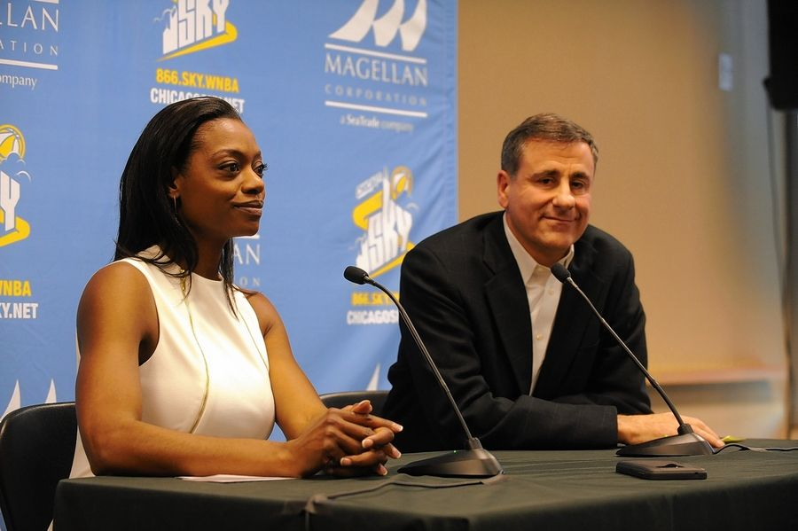 Chicago Sky owner Michael Alter, right, says he was impressed with the basketball knowledge, energy and positive approach that Amber Stocks, left, offers as the new head coach and general manager of the Sky.
