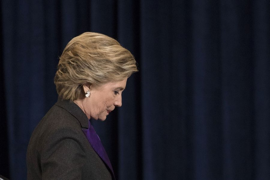 Democratic presidential candidate Hillary Clinton walks off the stage after speaking in Wednesday, Nov. 9, in New York. Clinton had conceded the presidency to Donald Trump in a phone call earlier that day.