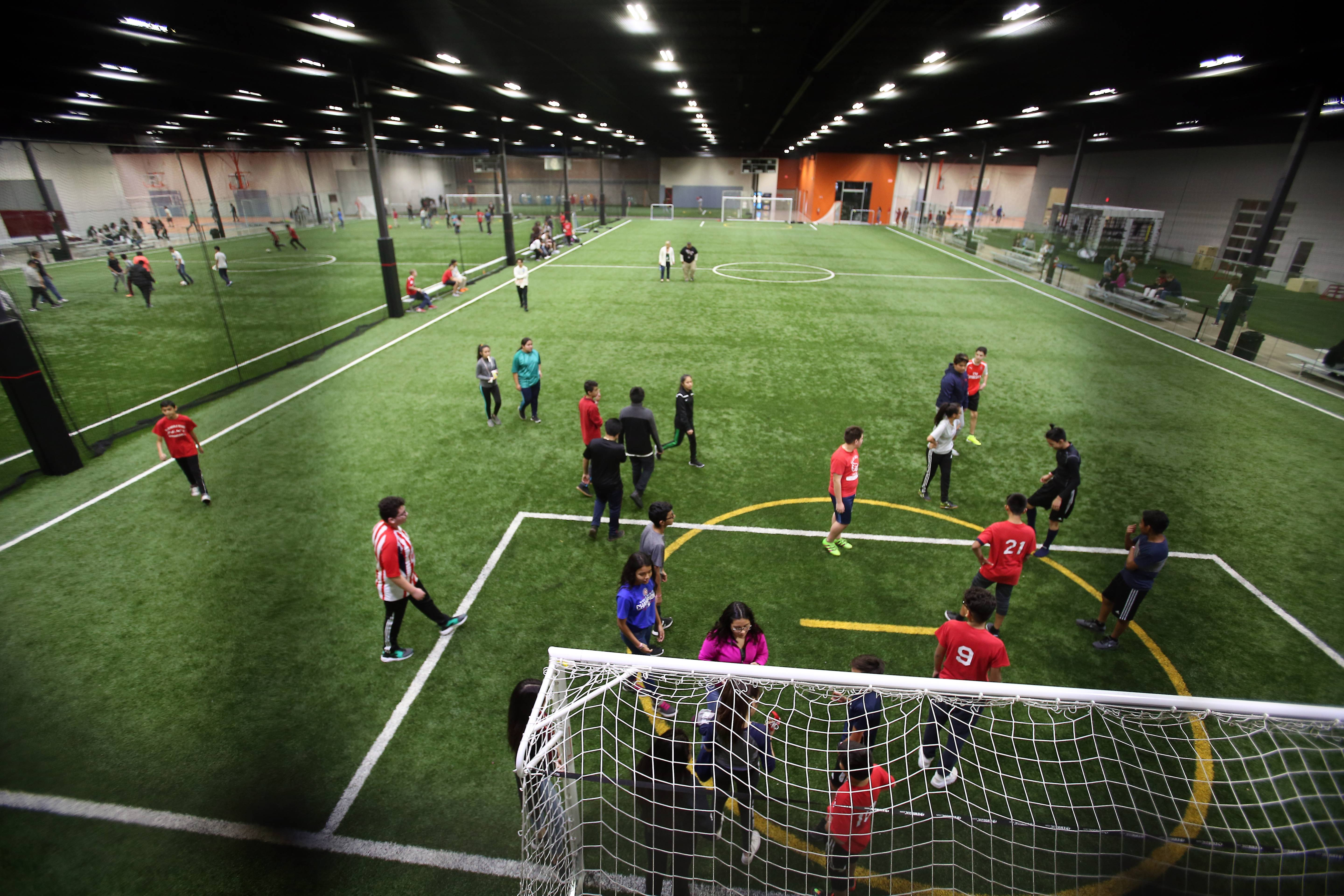 More than 300 students from Ellis Middle School in Elgin took a field trip Wednesday to LifeZone 360, the new sports complex in West Dundee.