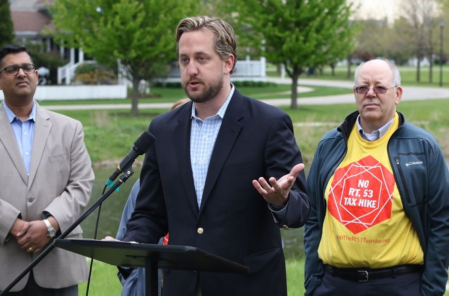 Lake County Board Chairman Aaron Lawlor explains his decision to withdraw his support for the extension of Route 53 during an event by the Livable Lake County coalition that included local mayors and elected officials.