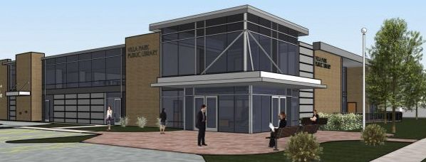 A rendering of what the new Villa Park Library entrance may look like if voters approve a tax increase in the April 4 election.