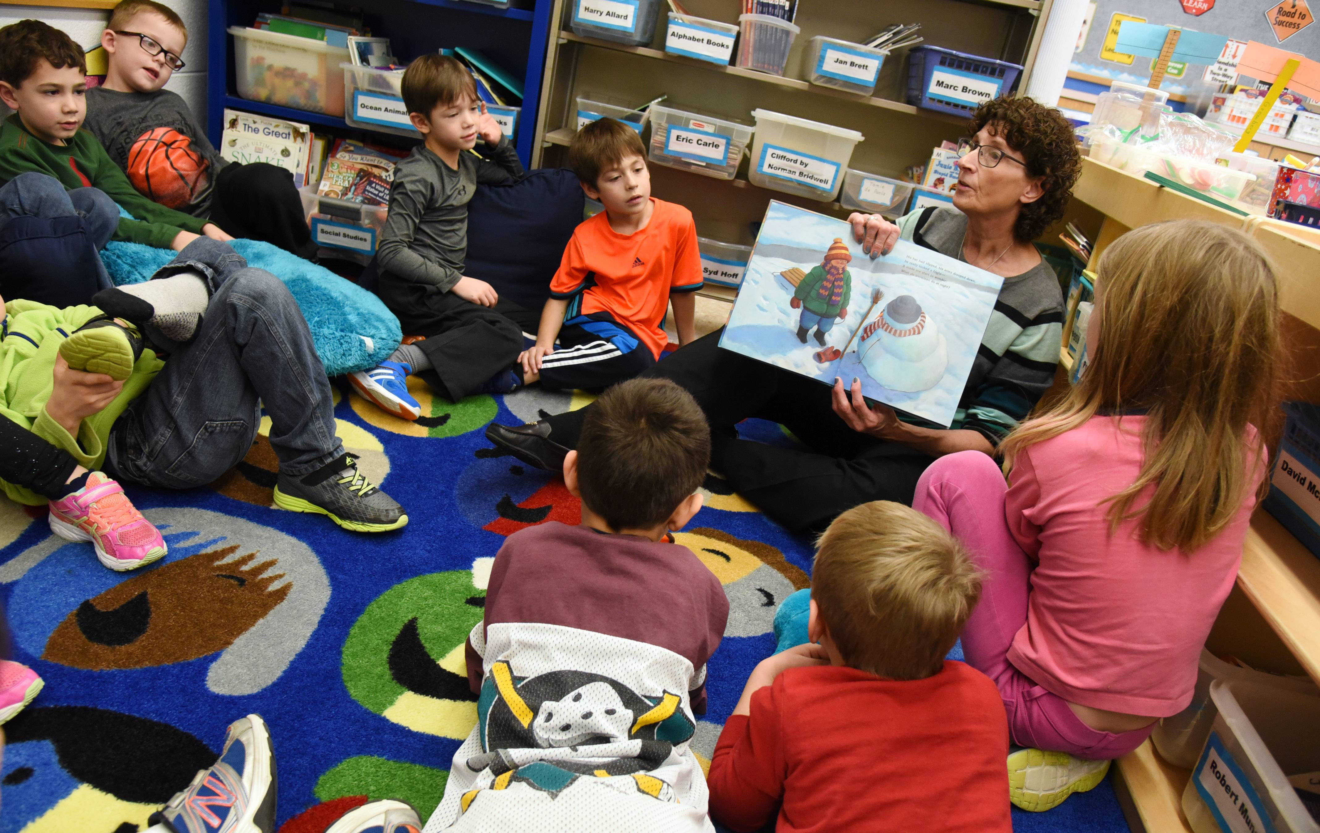 Roxanne Greenberg reads a story to her first-grade class at Rondout School.