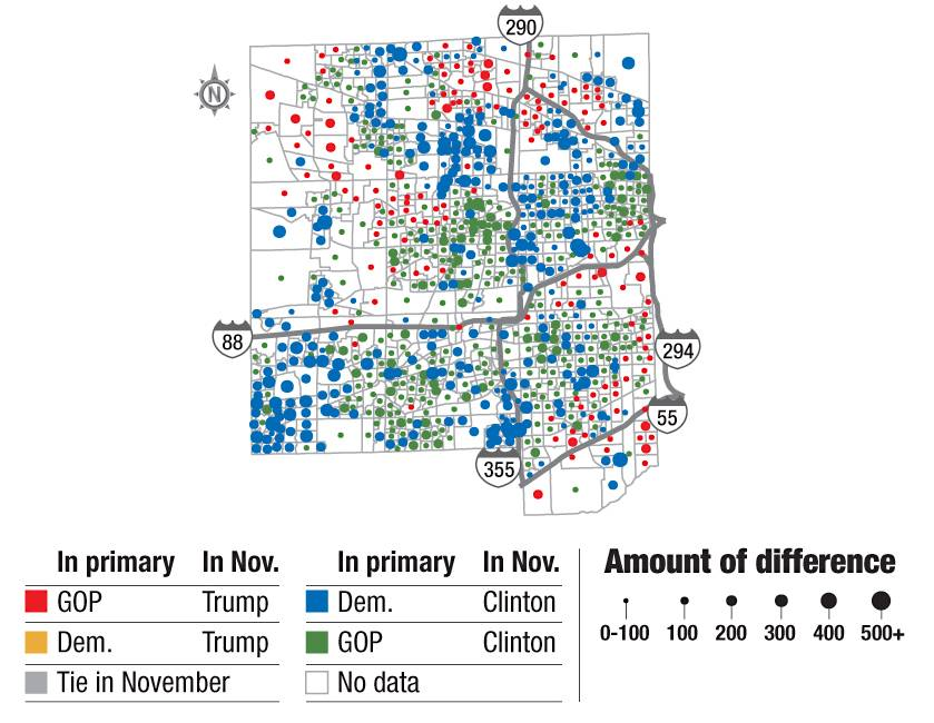 Mapping the suburban vote for Trump, Clinton