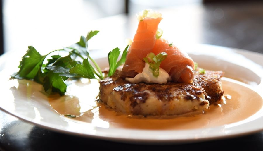 Retro Bistro's potato pancake is topped with creme fraiche and smoked salmon.
