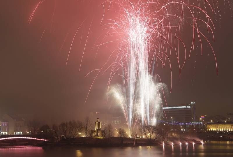 Fireworks explode over the Svisloch River during the New Year celebrations in Minsk, Belarus, Sunday.