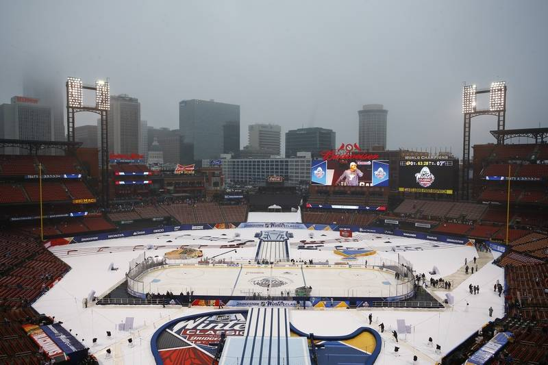 Fog And Rain Sets In Around Busch Stadium Prior To The NHL Winter Classic Hockey Game