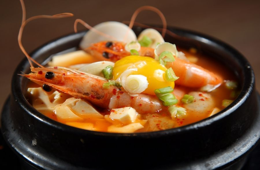 Seafood Soondubu Jjigae, a Korean silken tofu dish, comes in three different heat levels at So Gong Dong in Schaumburg.
