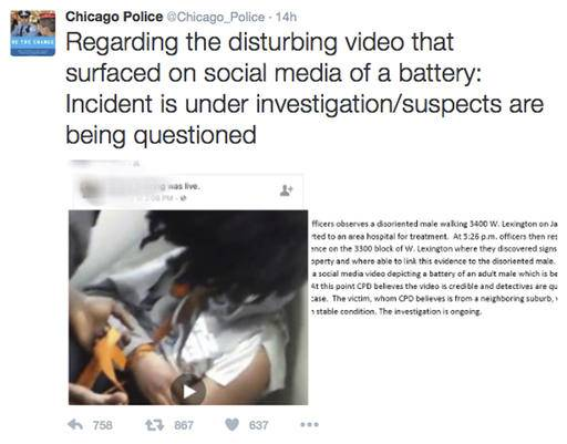 "This image posted on the Chicago Police Department's Twitter page shows a frame from a video that was broadcast live on Facebook in which a man is assaulted. The video shows the man with his mouth taped shut as a woman and other people cut off his shirt and hair with a knife, and someone pushes his head with his or her foot. Chicago Police Superintendent Eddie Johnson said Wednesday that the victim has mental health challenges, and he called the video ""sickening."" (Chicago Police Department via AP)"