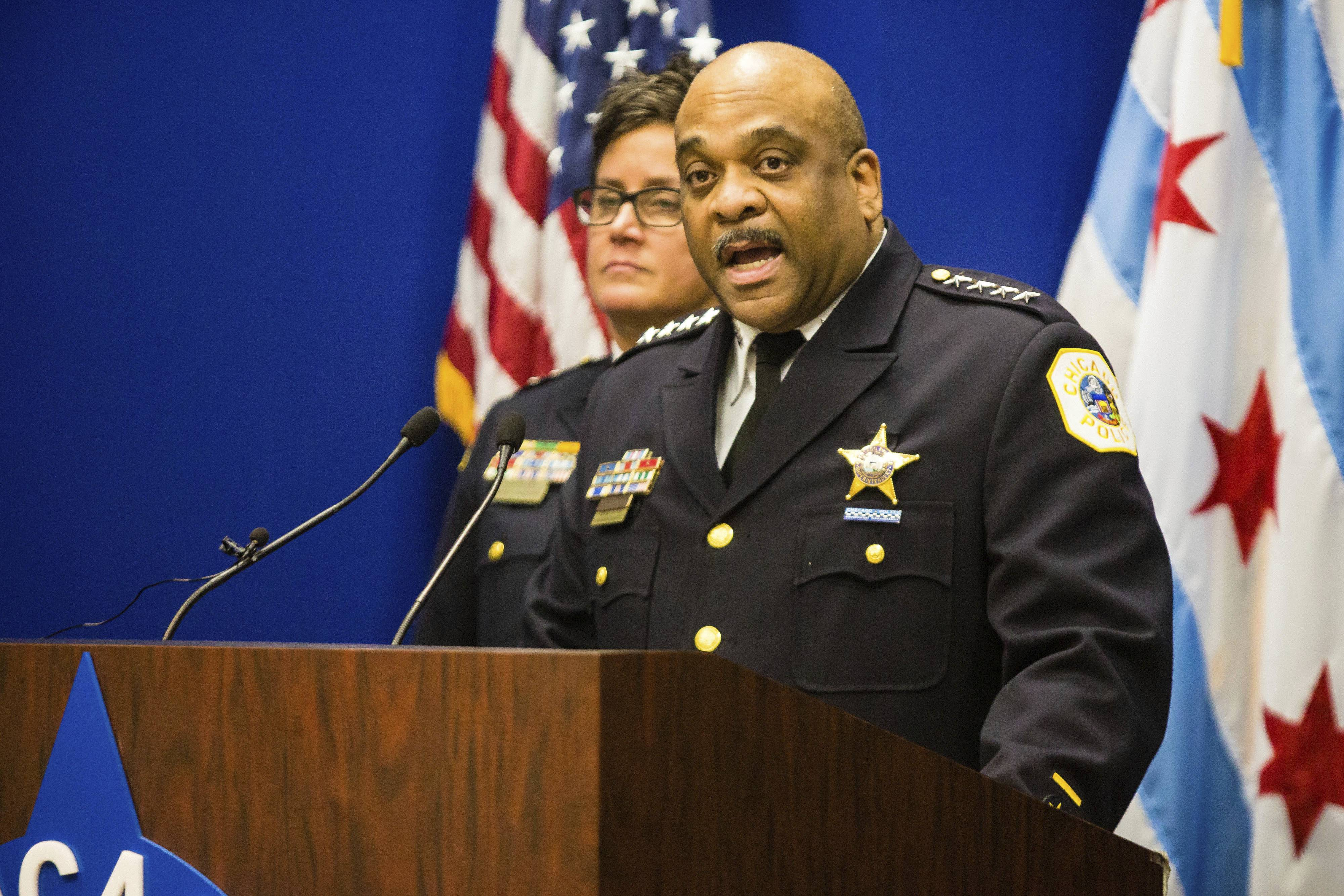 Chicago Police Superintendent Eddie Johnson speaks during a news conference Thursday about the hate crime and other charges filed against four individuals for an attack on a man captured on a Facebook video.