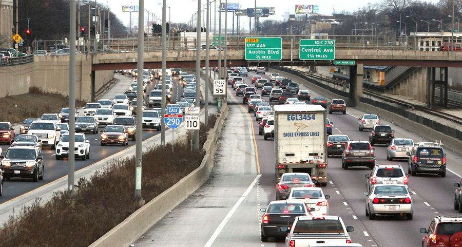 Traffic jams plague the Eisenhower Expressway where four lanes shrink to three between Oak Park and Hillside. IDOT wants to fix the gridlock by adding a combination carpool/tolled lane.