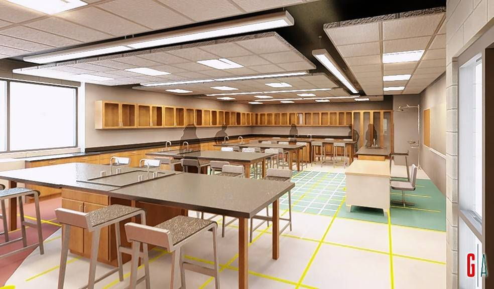 Benjamin Elementary District 25 is seeking voter approval to borrow $4.9 million in tax-backed loans. Roughly $951,000 would go toward proposed renovations of Benjamin Elementary's science labs, shown in this rendering. The project would add safety features such as fume hoods and eye-washing stations.