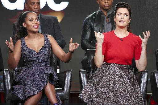 "Kerry Washington, left, and Bellamy Young speak at the ""Scandal"" panel at the Disney/ABC portion of the 2017 Winter Television Critics Association press tour on Tuesday, Jan. 10, 2017, in Pasadena, Calif. (Photo by Rich Fury/Invision/AP)"