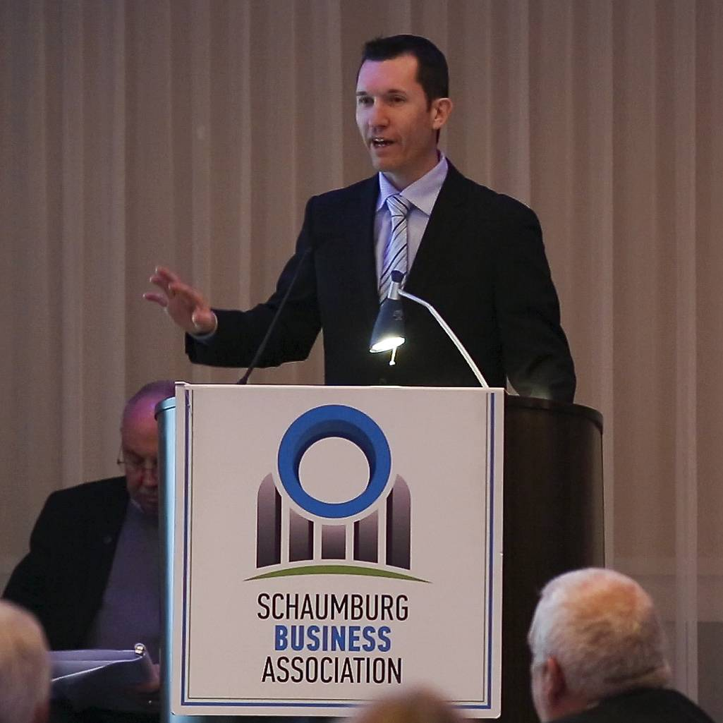 Kurt Webb, general manager of Woodfield Mall, announced plans for a new dining pavilion on Tuesday during Schaumburg Mayor Al Larson's annual state of the village presentation to the Schaumburg Business Association.