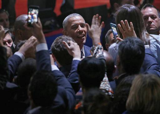 President Barack Obama talks to his supporters after giving his presidential farewell address at McCormick Place in Chicago, Tuesday, Jan. 10, 2017. (AP Photo/Nam Y. Huh)