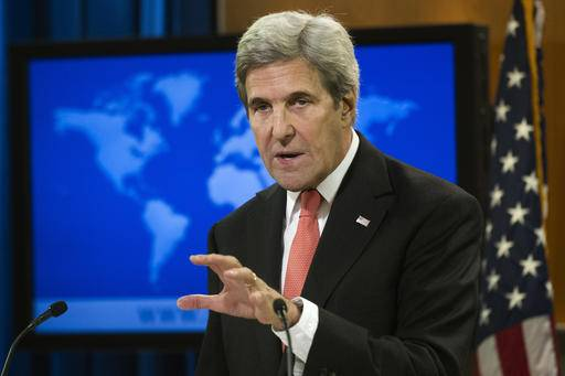 "FILE - In this Jan. 5, 2017 file photo, Secretary of State John Kerry speaks during a news conference at the State Department in Washington. Kerry on Tuesday, Jan. 10, 2017, warned about the rise of a ""factless political environment� in which policy is made on Twitter and said President-elect Donald Trump's ""America First� policy could lead to a U.S. retreat from the world. He also lamented a lack of contact with the incoming Trump administration. (AP Photo/Cliff Owen, File)"