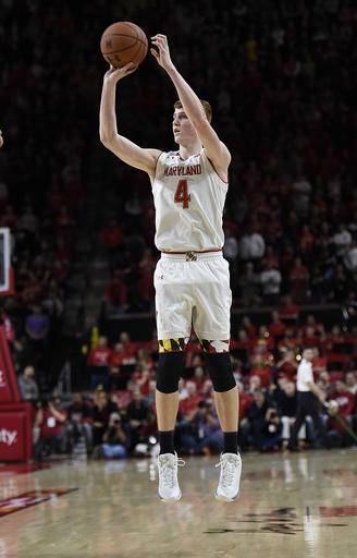 Maryland's Kevin Huerter shoots against Indiana during the second half of an NCAA college basketball game, Tuesday, Jan. 10, 2017, in College Park, Md. Maryland won 75-72. (AP Photo/Gail Burton)
