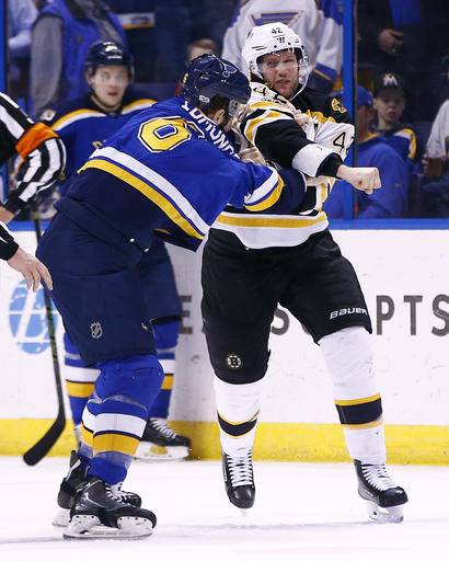 Marchand Scores Twice As Bruins Beat Blues 5-3
