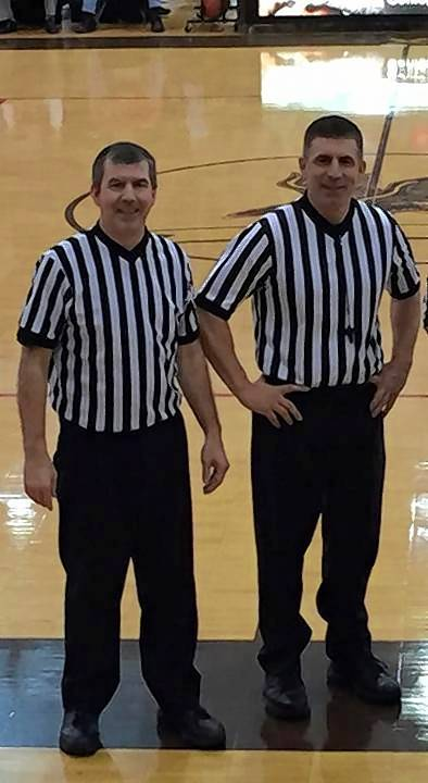 IHSA basketball officials Steve Massie, left, and his brother Scott, both Dundee High School graduates, will be inducted into the Illinois Basketball Coaches Association Hall of Fame this spring. Steve is a Carpentersville resident and Scott lives in Lake in the Hills.