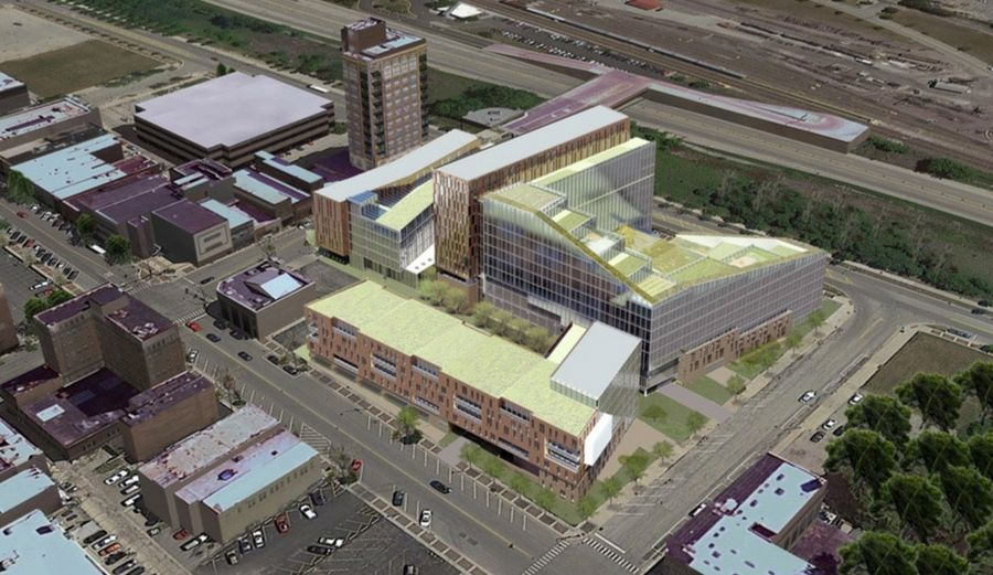 An Aerial View Rendering Of A Proposed 100 Million Greentown Redevelopment Project In Waukegan
