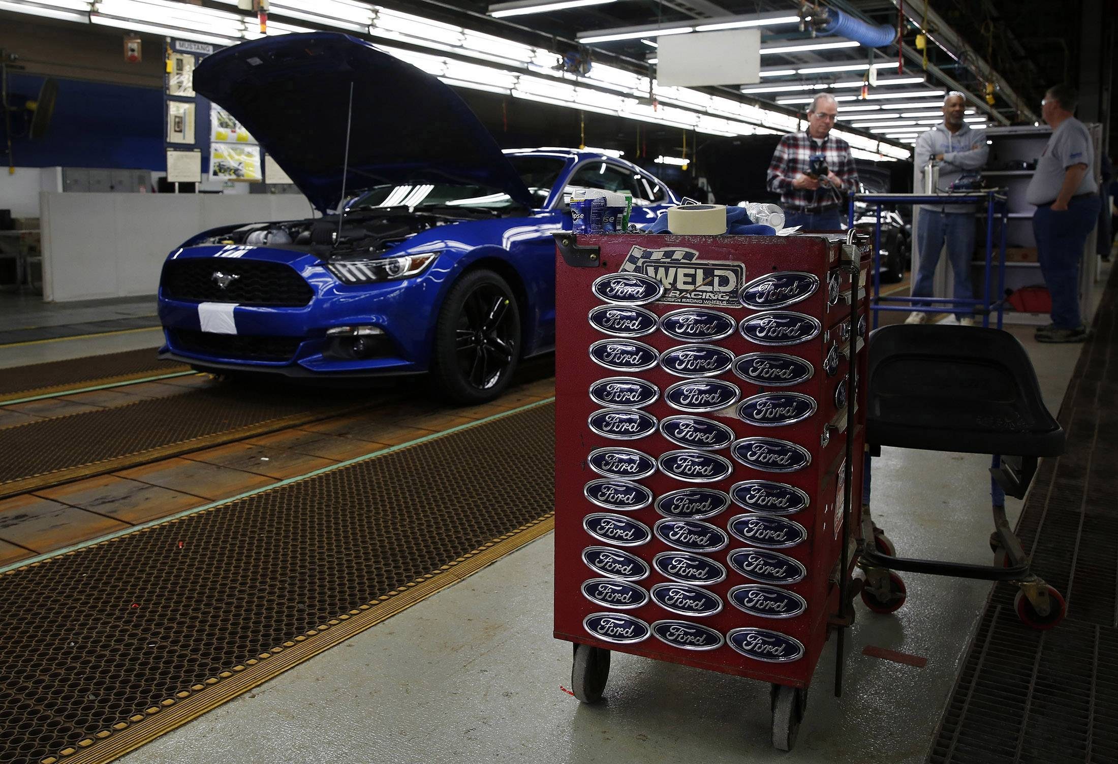 A Ford Mustang moves along the production line at the company's assembly plant in Flat Rock, Michigan, early this month.