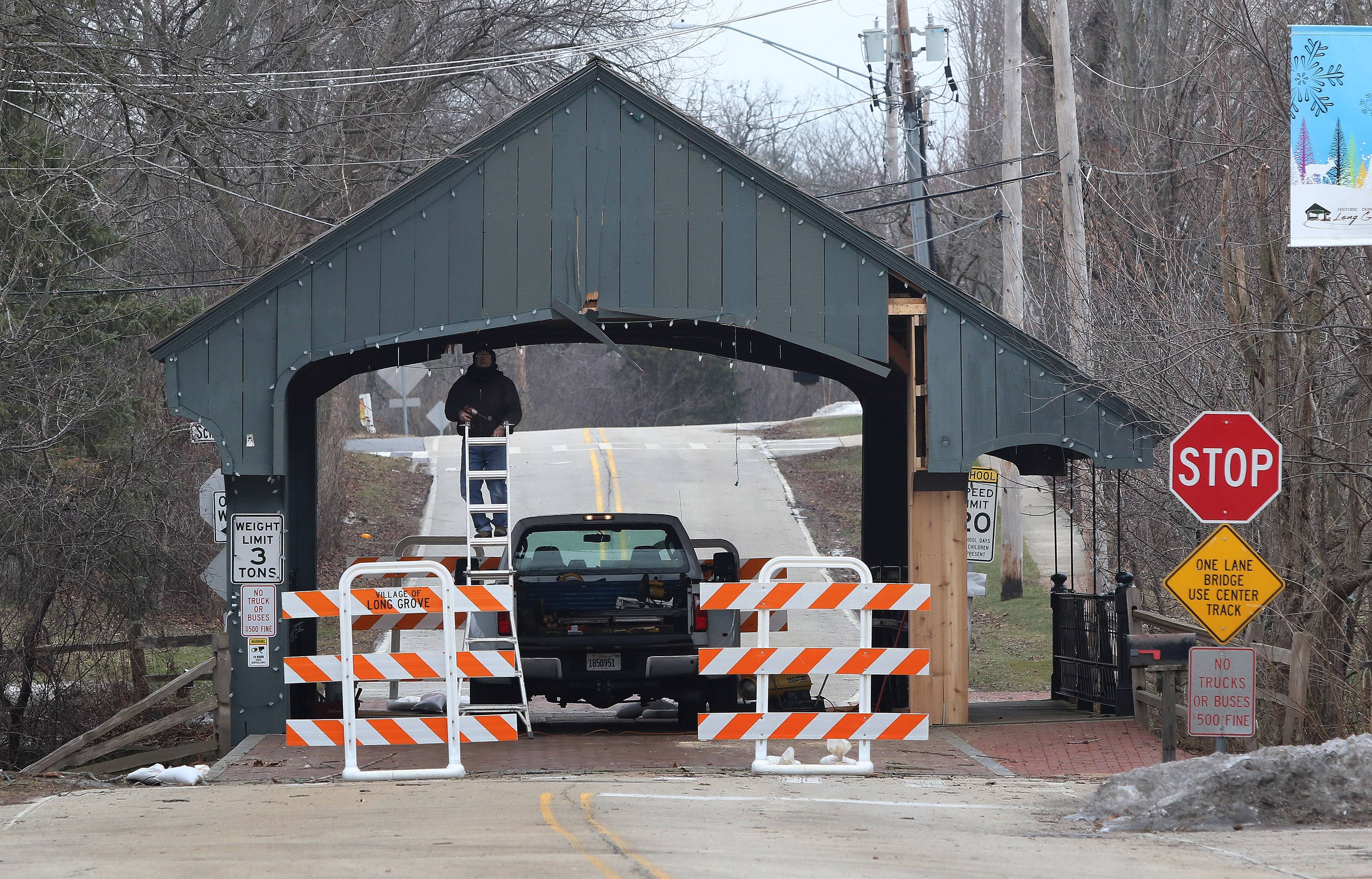 Long Grove's covered bridge is under repair after it was struck by an SUV in November. Ryan Messner, chairman of the Historic Downtown Long Grove Business Association executive committee, discusses a campaign to save the village's one-lane covered bridge.